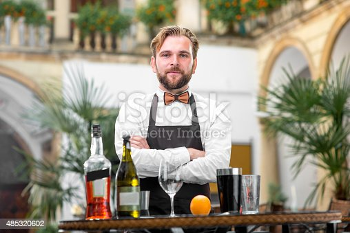 istock Portrait of barman at the restaurant 485320602