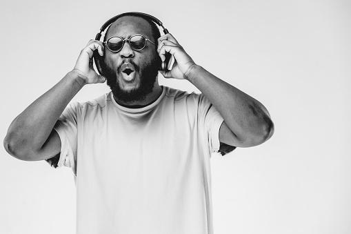 Portrait of beard African American musician in the studio