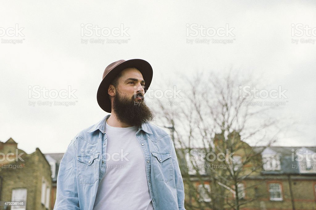 Portrait Of Bearded Man In A City Street stock photo