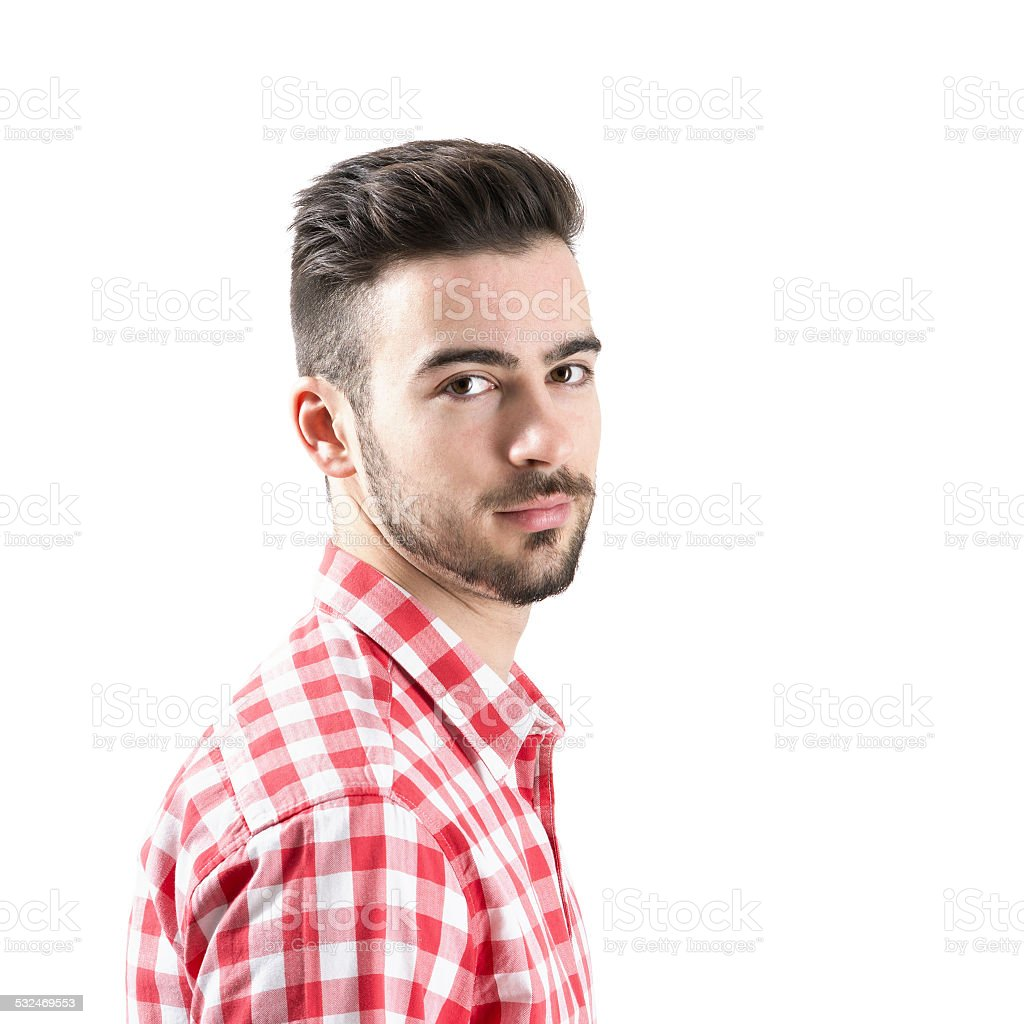 Portrait of bearded man looking at camera stock photo