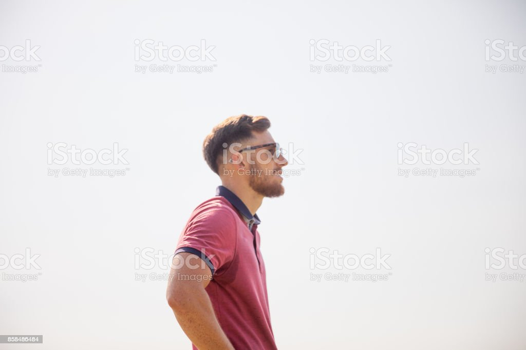 Portrait of Bearded Young FootGolf Athlete stock photo