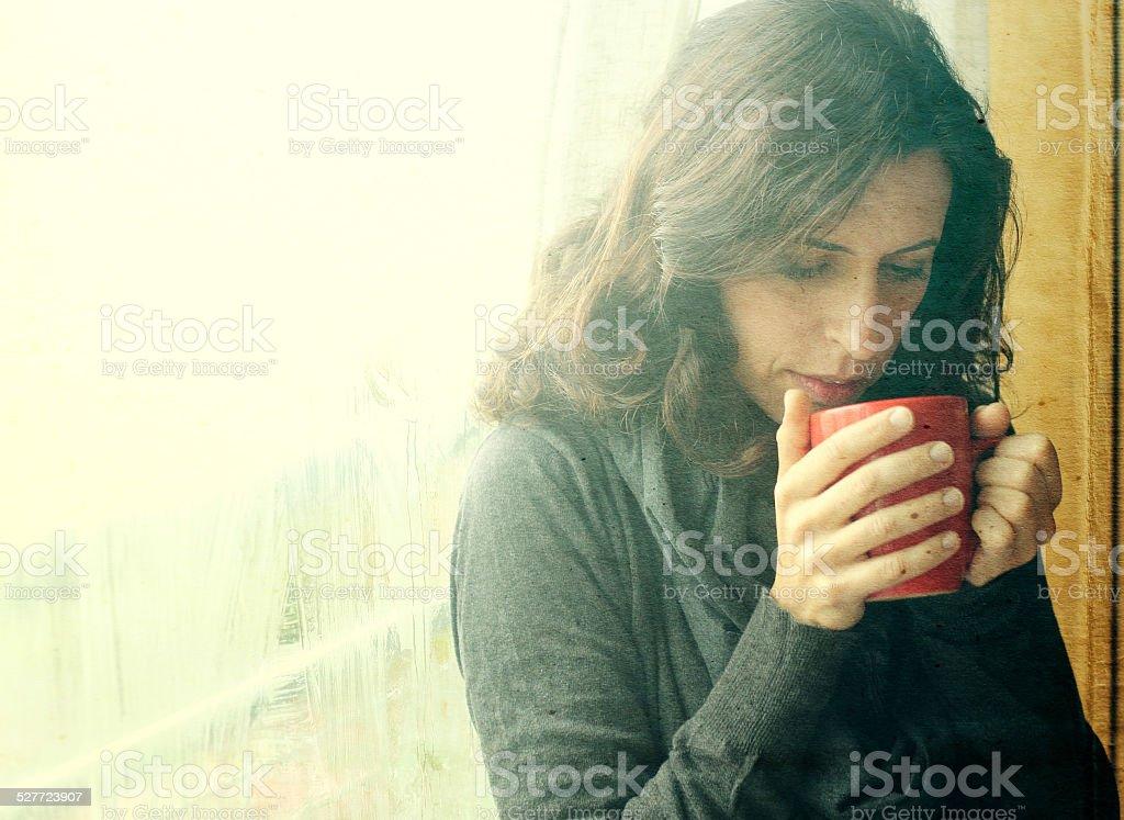 Portrait of beautiful 35 year old woman stock photo
