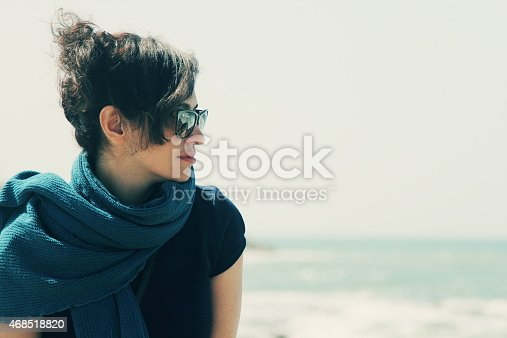 Portrait of beautiful 35 years old woman traveling