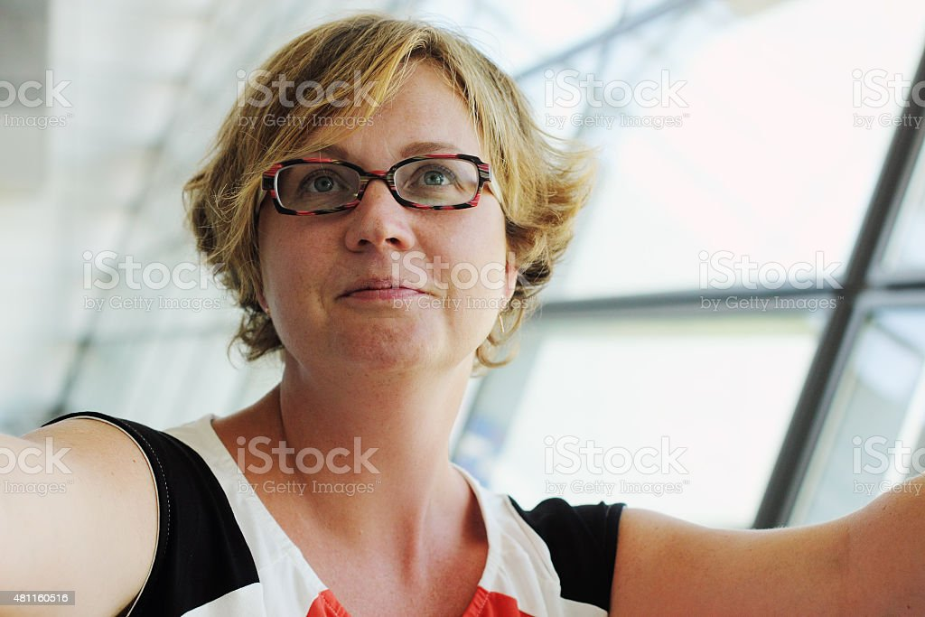 Portrait of beautiful 35 years old woman stock photo