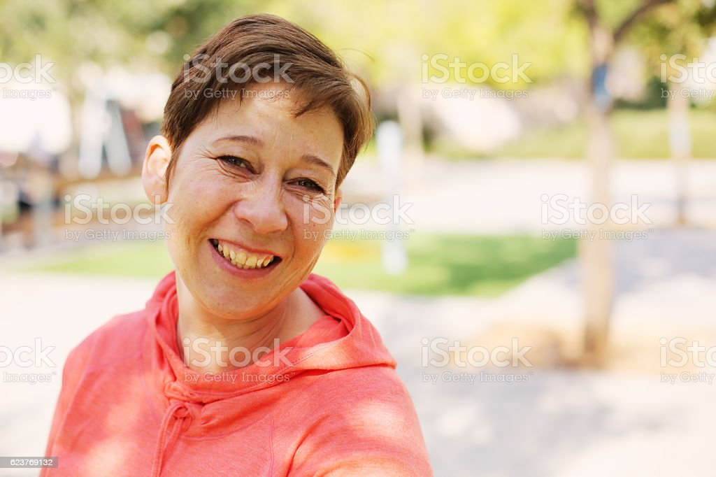Portrait of beautiful 45 years old woman stock photo