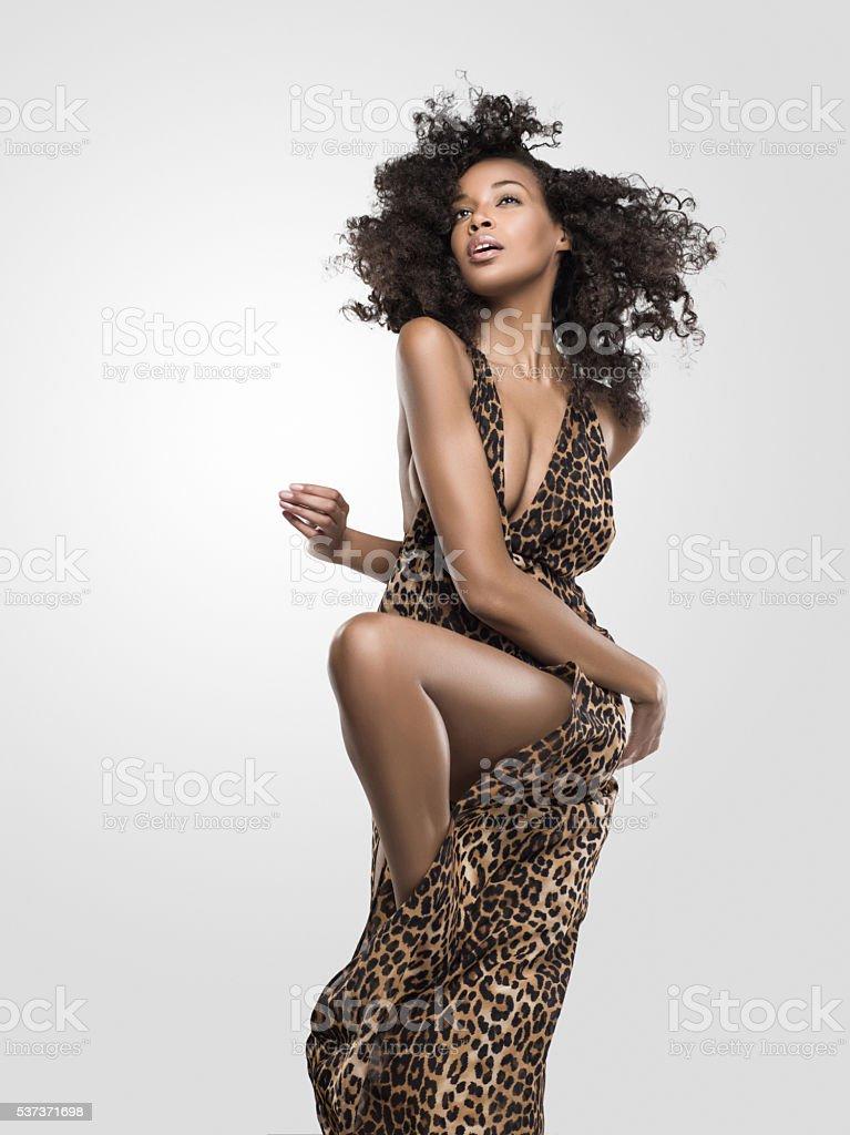 Portrait of beautiful african american female stock photo