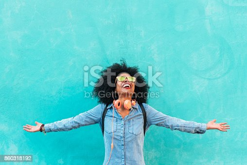 istock Portrait of beautiful afro american woman having fun. 860318192