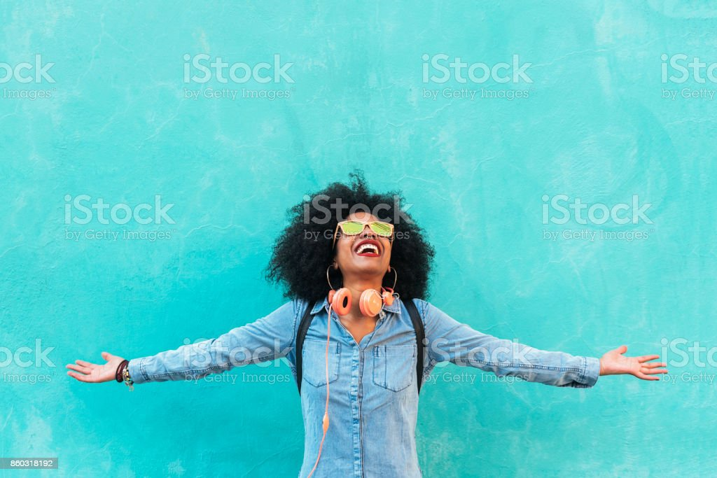 Portrait of beautiful afro american woman having fun. stock photo