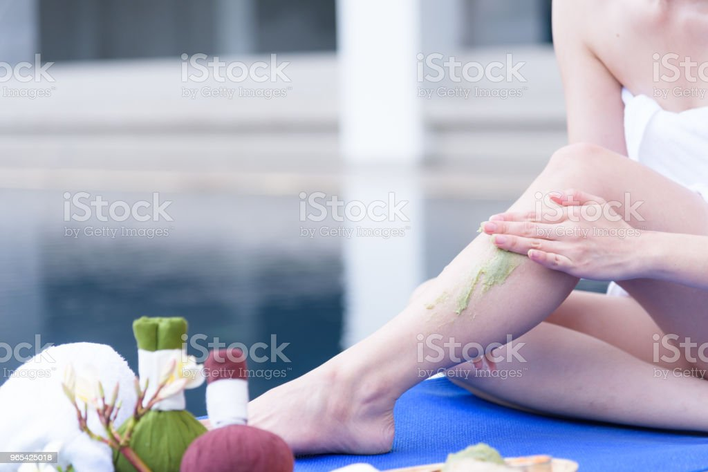 Portrait of beautiful asian people with close up view and close up hand massage in spa salon. Beauty, healthy, spa and relaxation concept. royalty-free stock photo