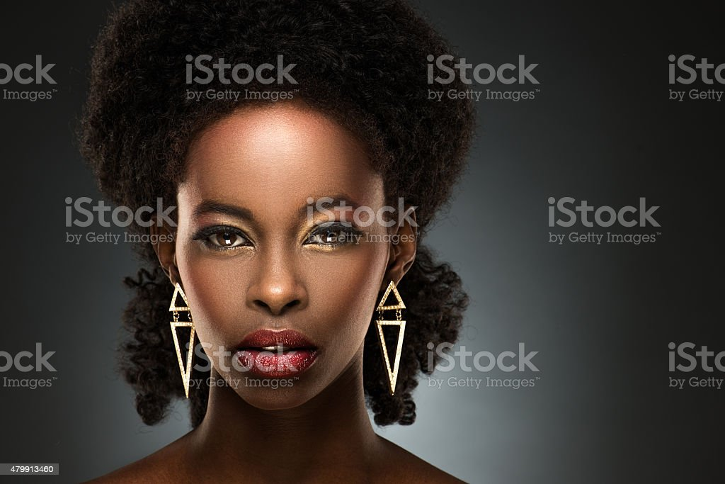 Portrait of beautiful black lady stock photo