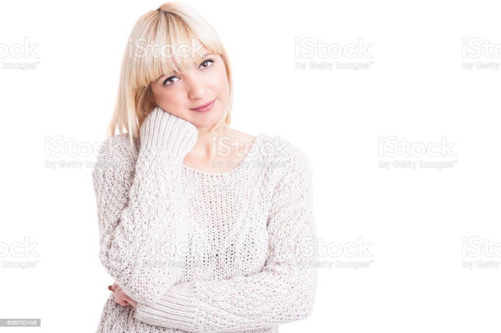 Portrait of beautiful blonde girl posing confortable stock photo