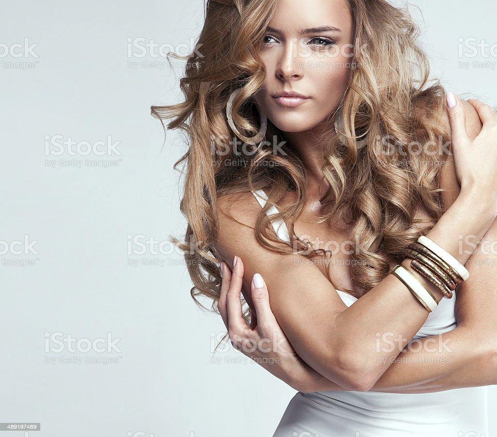 Portrait of beautiful blonde woman stock photo
