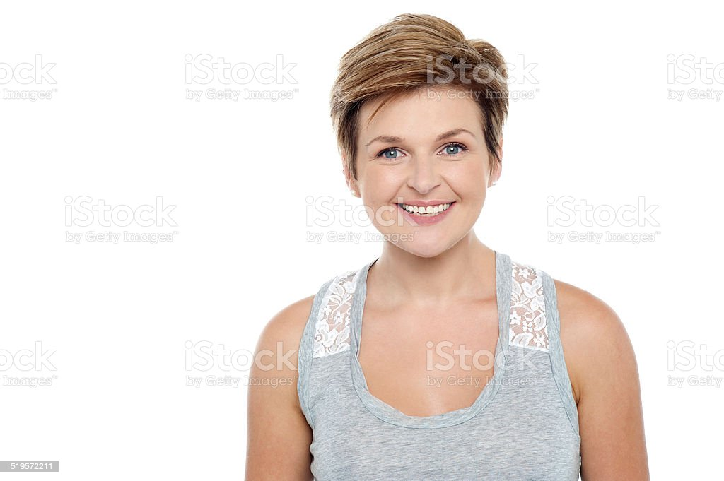 Portrait of beautiful blonde woman stock photo