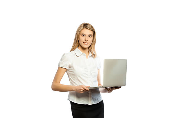 portrait of beautiful business woman with laptop  isolated on white - foto's van business people on computer stockfoto's en -beelden