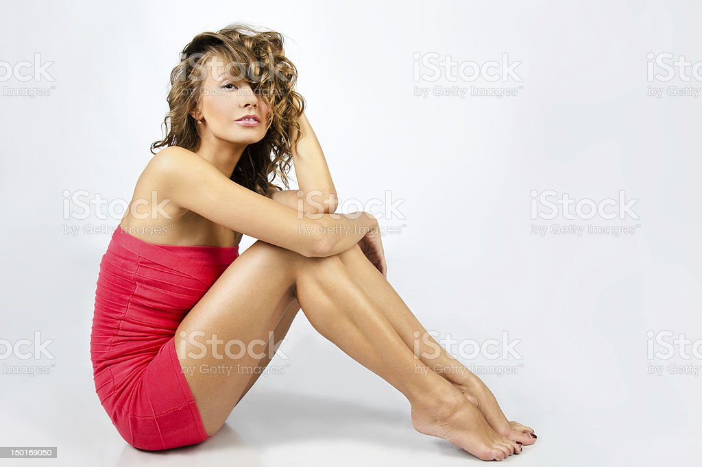Portrait of beautiful  caucasian young girl in dress royalty-free stock photo
