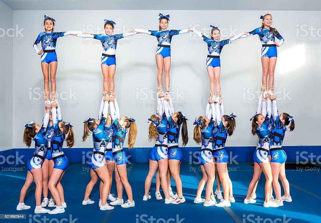 Portrait of beautiful cheerleaders stock photo