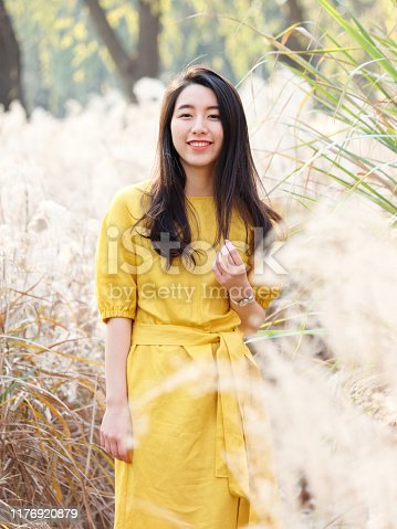 istock Portrait of beautiful Chinese young woman in yellow dress posing and smiling at camera, charming Chinese girl with black long hair enjoy her leisure time outdoor. 1176920879