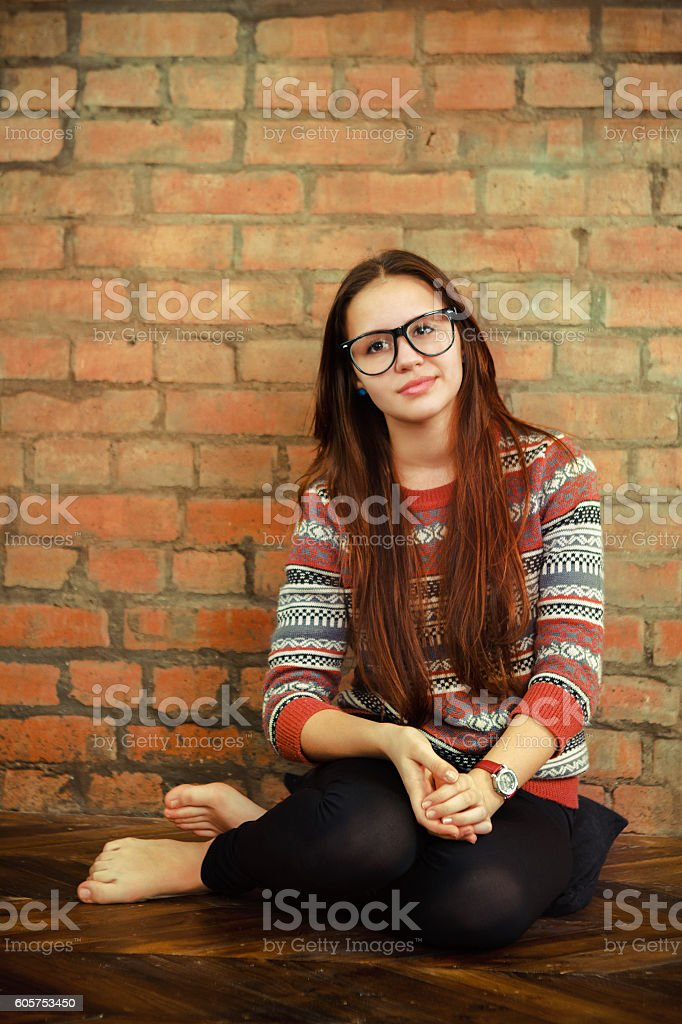 Portrait Of Beautiful Cute Teen Girl In The Living Room Royalty Free Stock Photo