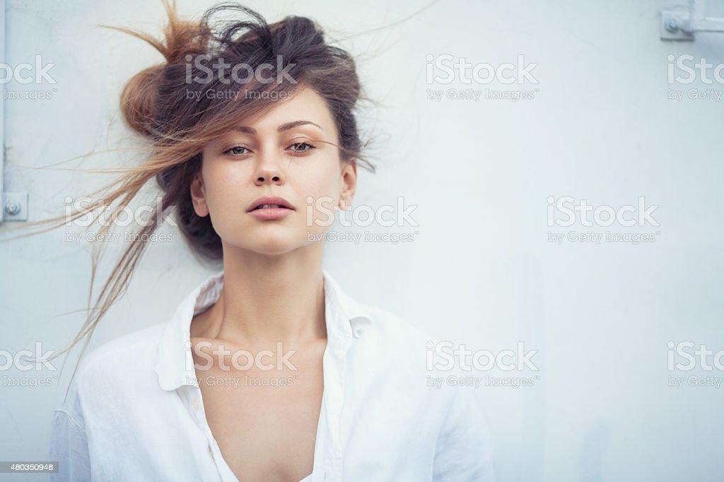 Portrait of beautiful fashion model outdoors stock photo
