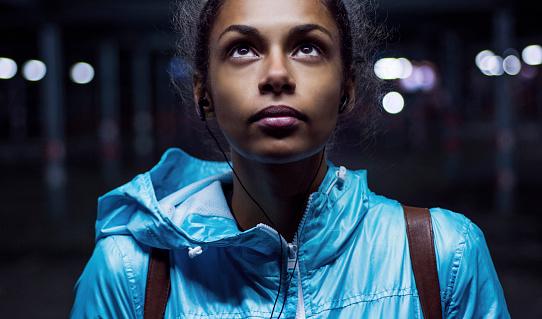 Beautiful girl posing at night
