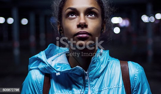 istock Portrait of beautiful girl at night 505872798
