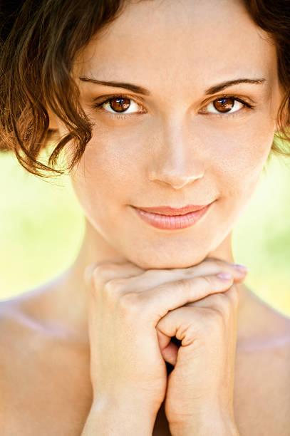 Portrait of beautiful girl close up stock photo