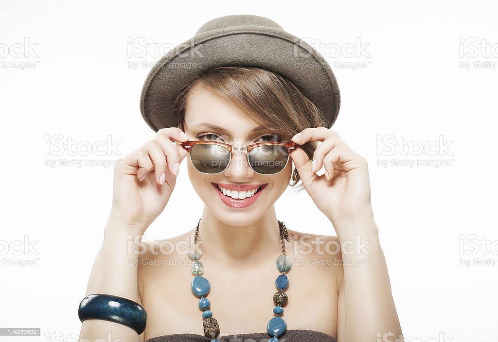 Portrait of beautiful girl in hat stock photo