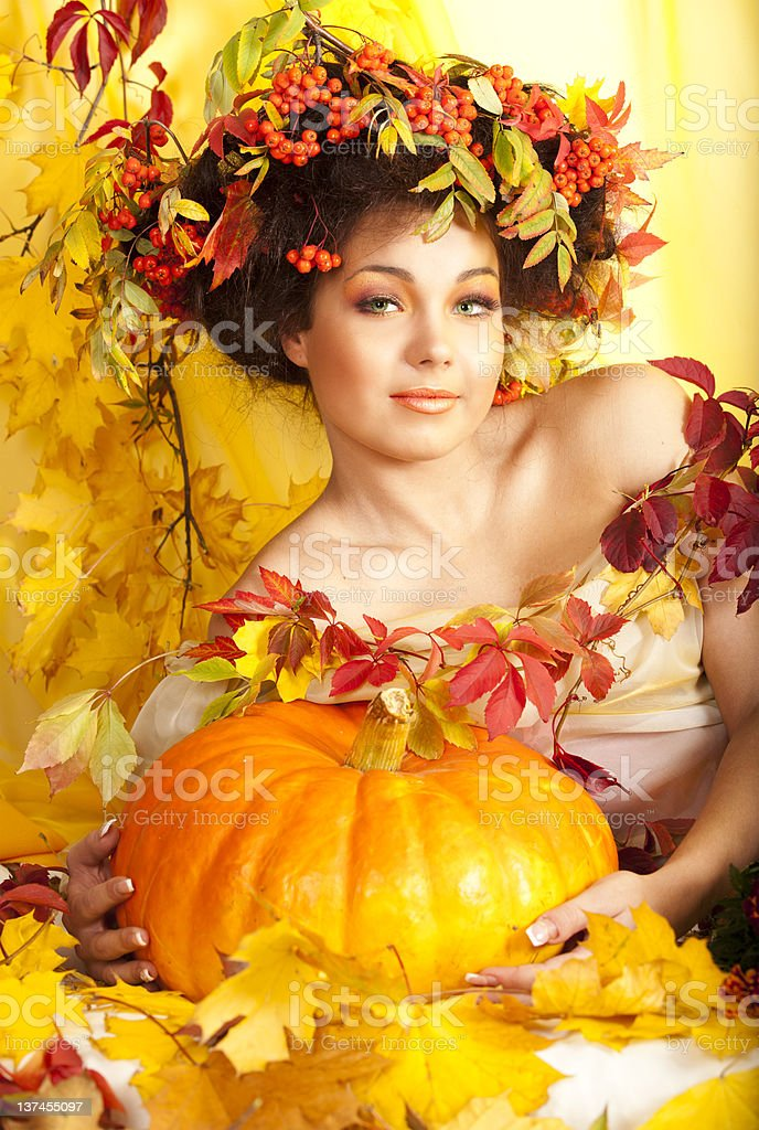 portrait of beautiful girl with autumn leaves royalty-free stock photo