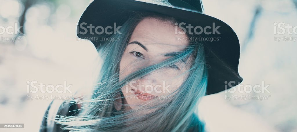 Portrait of beautiful girl with blue hair royalty-free stock photo