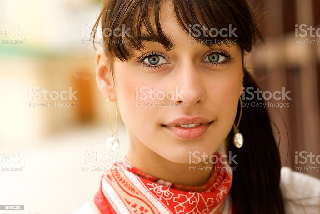 Portrait of beautiful girl with dark hair royalty-free stock photo