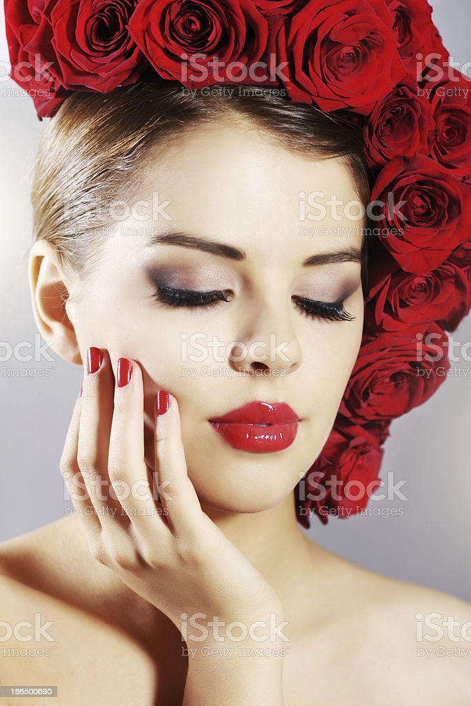 Portrait of beautiful girl with perfect makeup royalty-free stock photo