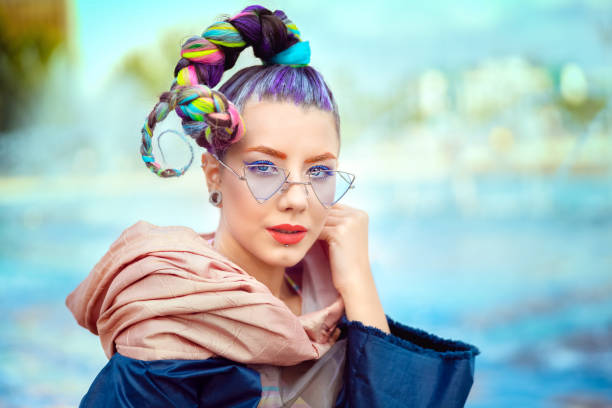 portrait of beautiful hipster teenage girl with funky creative hairstyle - pics for cool girl stock pictures, royalty-free photos & images