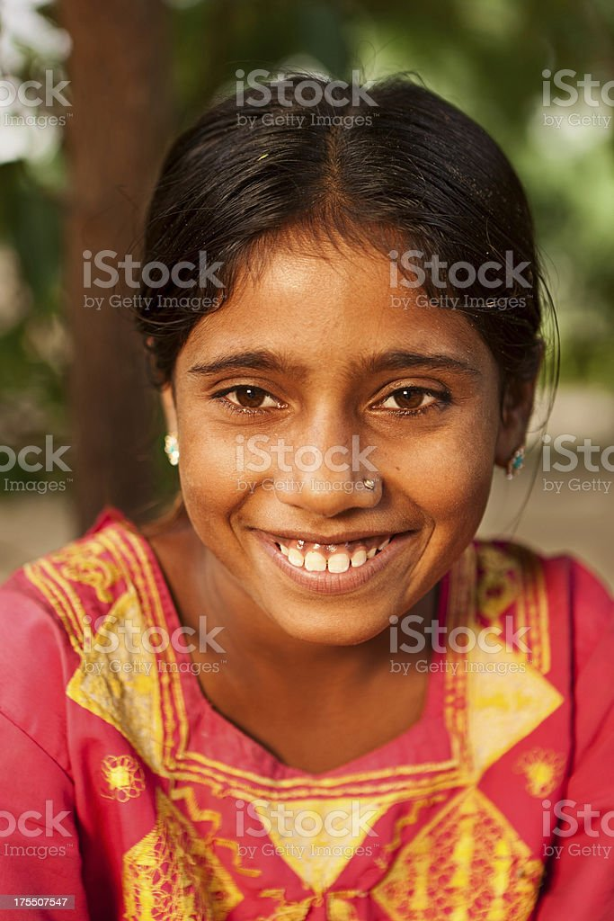 Portrait of beautiful Indian girl stock photo