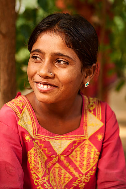 Portrait of beautiful Indian girl stock photo