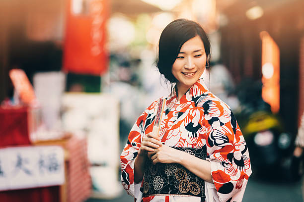 portrait of beautiful japanese woman - geisha girl stock photos and pictures