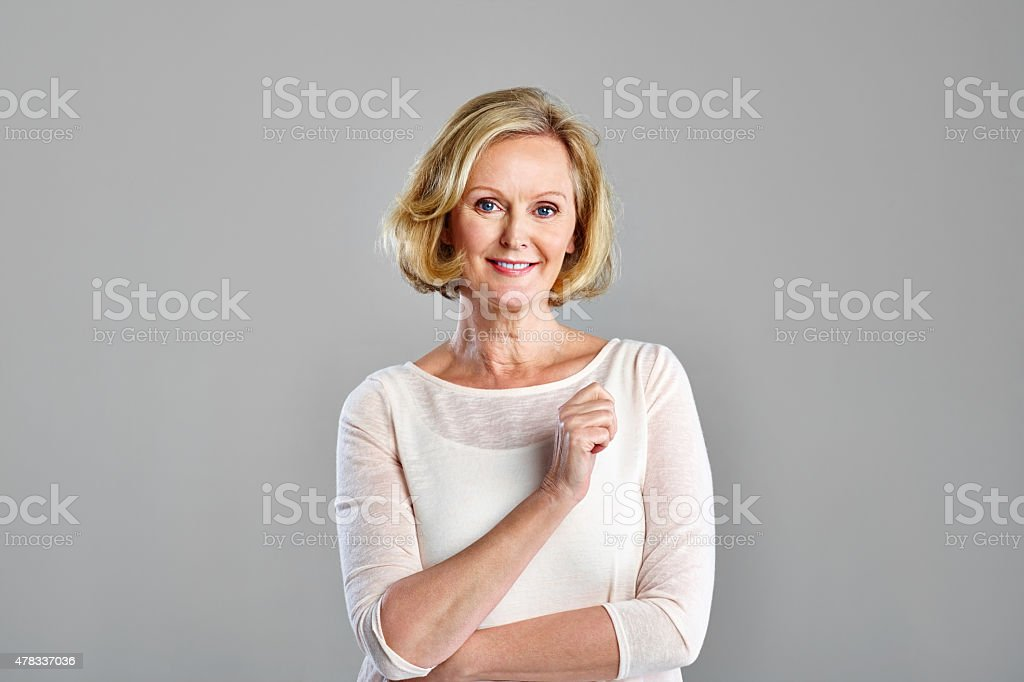 Portrait of beautiful mature woman stock photo