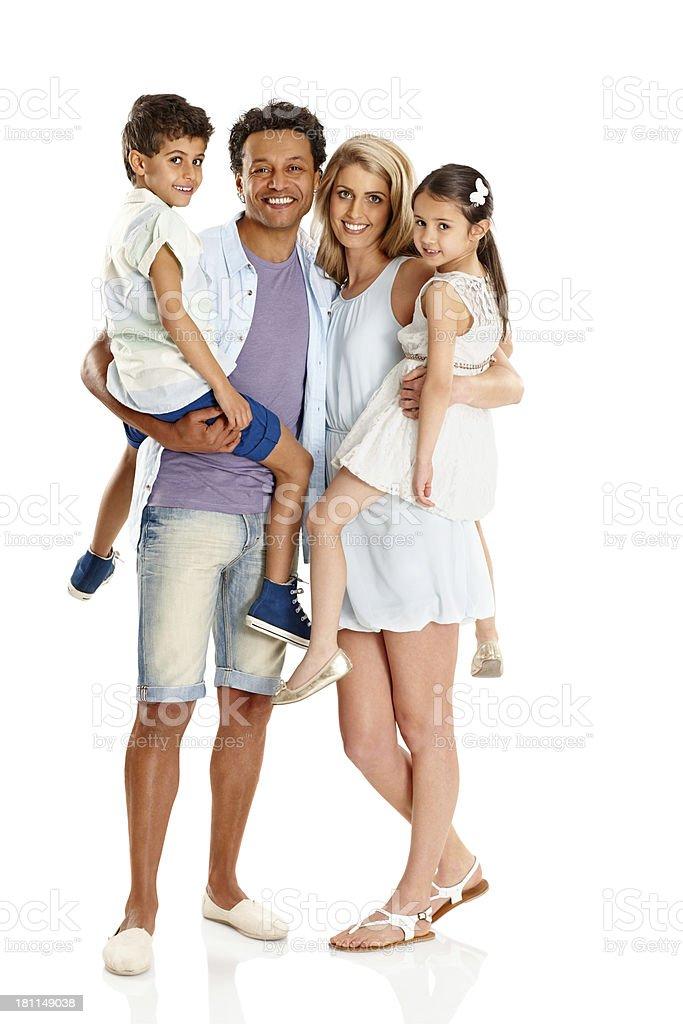 Portrait of beautiful mixed race family royalty-free stock photo