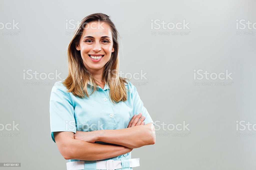 Portrait of beautiful nurse stock photo