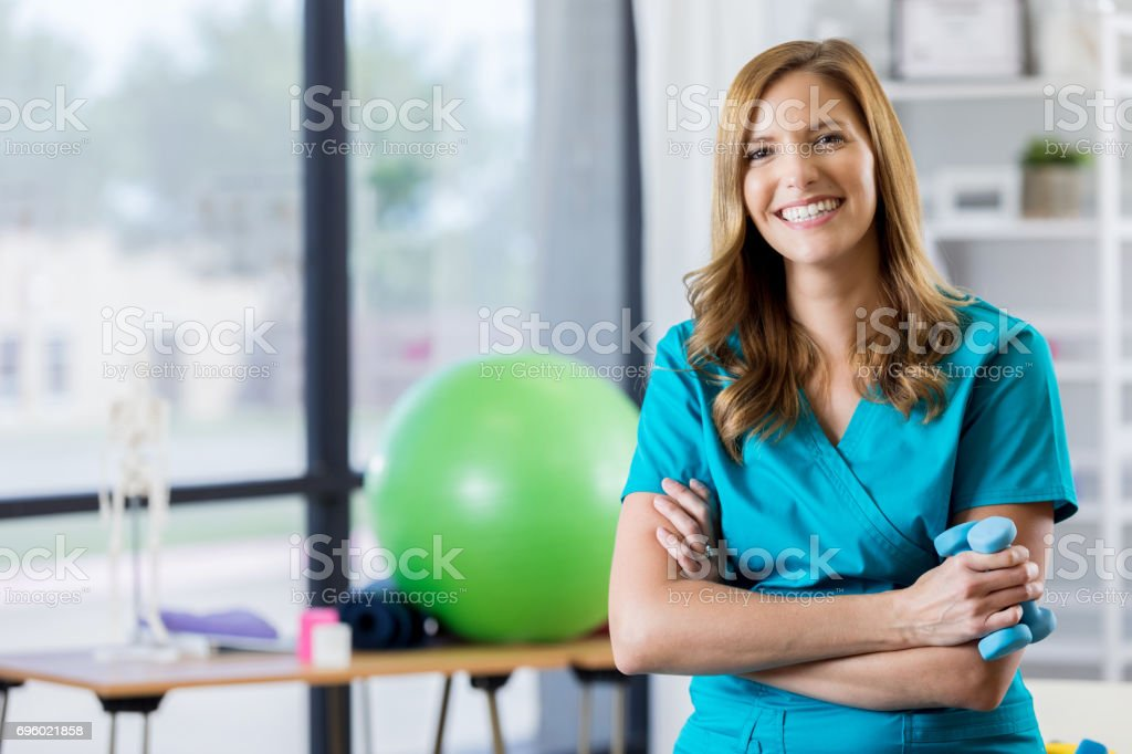 Retrato da bela fisioterapeuta - foto de acervo