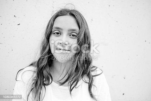 Portrait of beautiful preteen girl