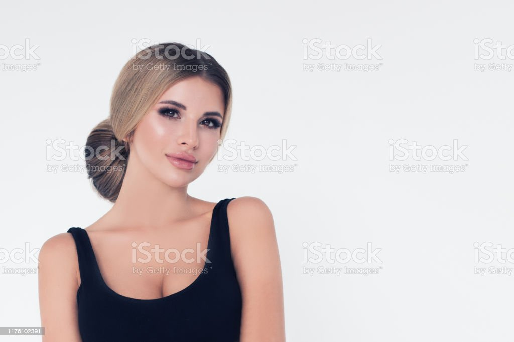 Portrait Of Beautiful Pretty Woman On White Banner Background Blonde Hair And Makeup Stock Photo Download Image Now Istock