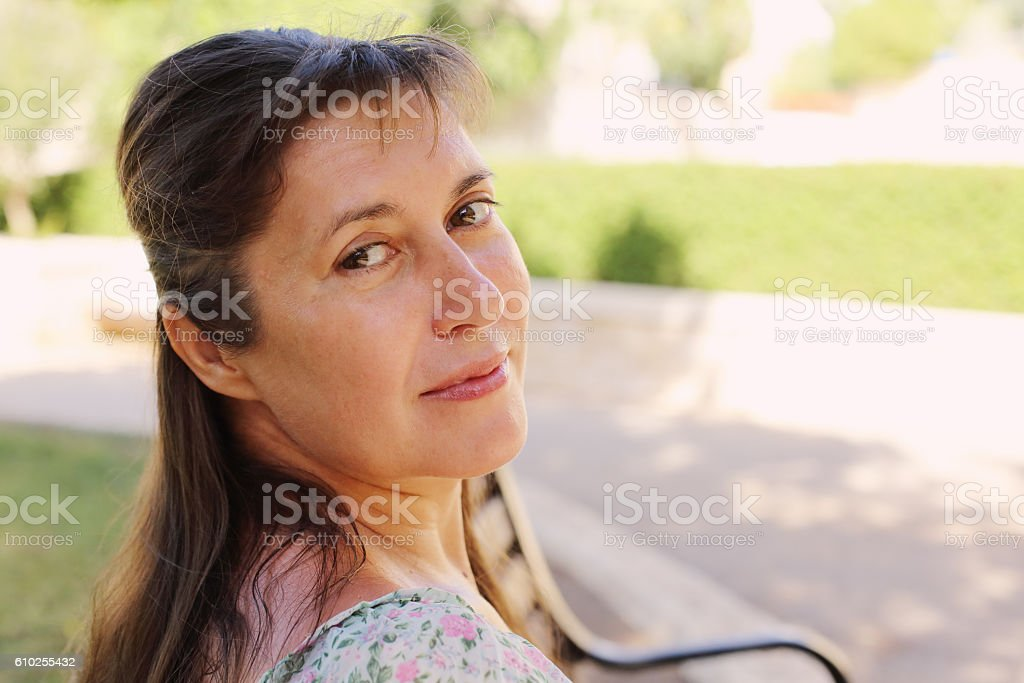 Portrait of beautiful real 45 years old woman stock photo