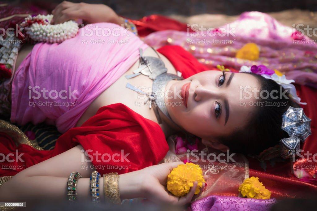 Portrait of Beautiful rural thai woman wear thai dress in Chiang Mai, Thailand - Стоковые фото Азиатского и индийского происхождения роялти-фри