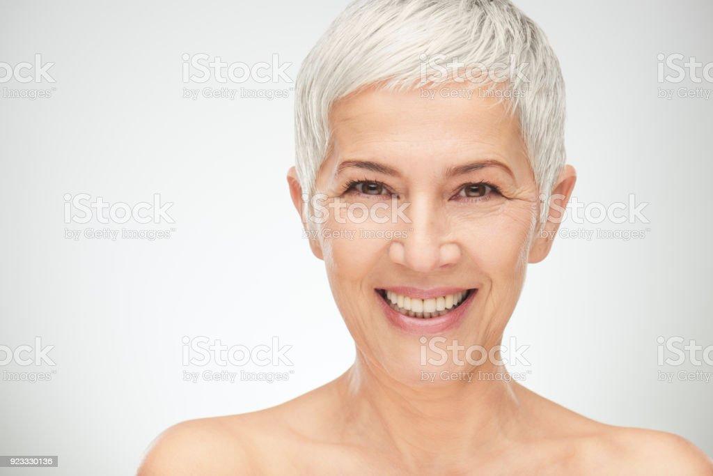 Portrait of beautiful senior woman. stock photo