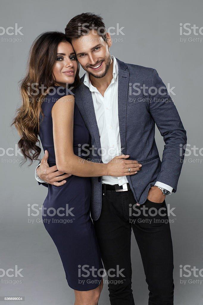 Portrait of beautiful smiling couple stock photo