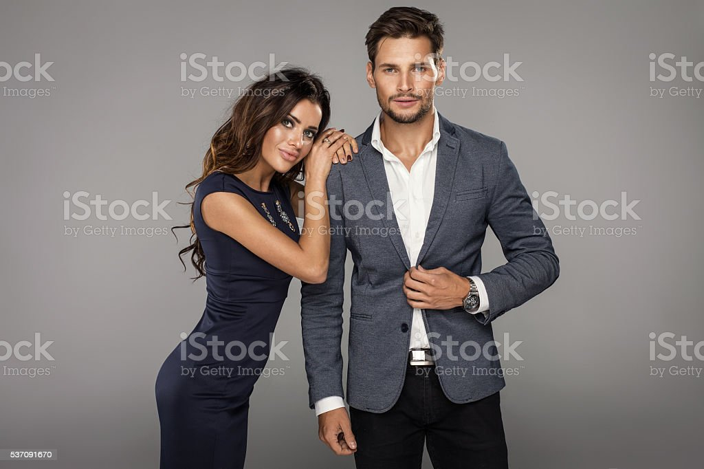 Portrait of beautiful smiling woman with handsome man stock photo