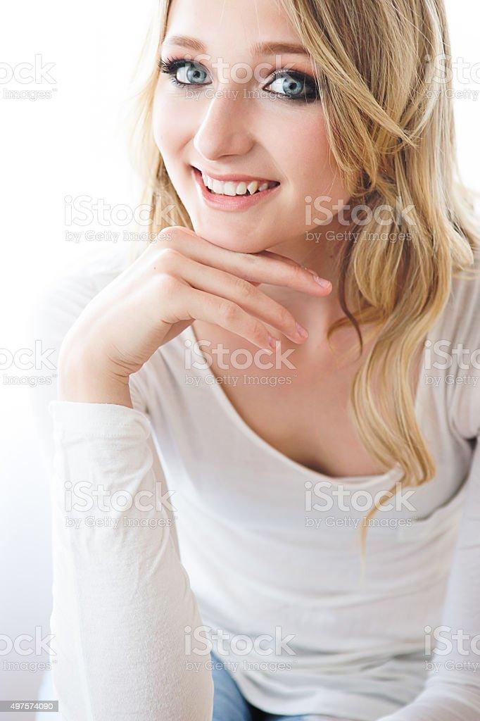 Portrait of beautiful teenage girl smiling stock photo