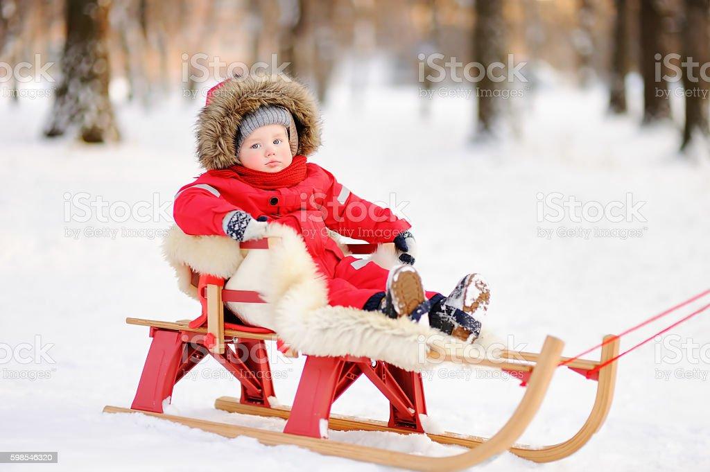 Portrait of beautiful toddler boy in winter park photo libre de droits