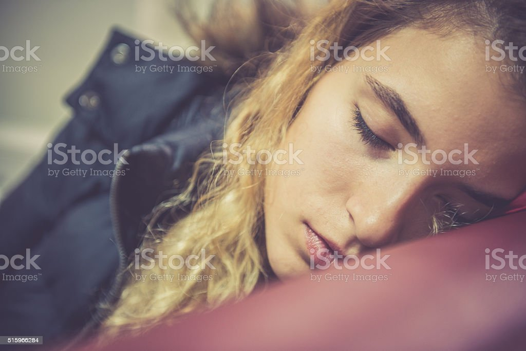 Portrait of Beautiful Turkish Student Sleeping, School, University, Istanbul stock photo