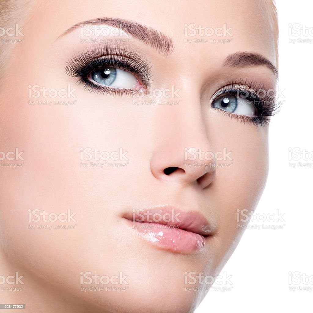 Portrait Of Beautiful White Woman With Long False ...